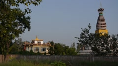 A Temple in Lumbini Development Zone,Lumbini,Nepal Stock Footage