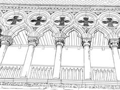 Venice - Piazza San Marco. Columns of the Doge's Palace. Vector drawing Stock Illustration