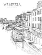Stock Illustration of Venice - Grand Canal. The view from the Rialto Bridge. Vector drawing