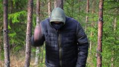 Man with machete in the forest Stock Footage