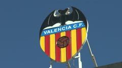 The Valencia CF logo/badge on top of the Mestalla stadium, Valencia, Spain. Stock Footage