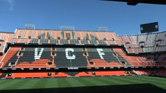 Stands in the Mestalla stadium, home of Valencia CF, Valencia, Spain. Stock Footage