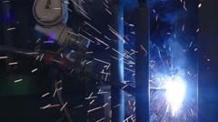 Industrial Welding welding robot Stock Footage