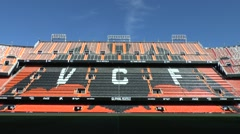 Sunlit stands in the Mestalla stadium, home of Valencia CF, Valencia, Spain. Stock Footage