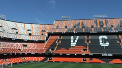 Sunlit stands in the Mestalla satdium, home of Valencia CF, Valencia, Spain. Stock Footage