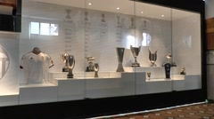 Trophy cabinet in the Mestalla stadium, home of Valencia CF, Valencia, Spain. Stock Footage