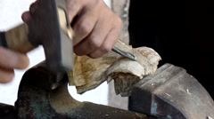 Hard wood carving - stock footage