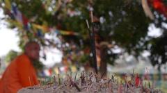 Inscence sticks under Bodhi Tree,Lumbini,Nepal Stock Footage