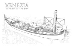 Stock Illustration of Gondola at the pier