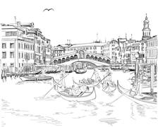 Venice - Grand Canal. View of the Rialto Bridge. Vector drawing - stock illustration