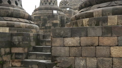 Tilt up to the Borobudur a 9th-century Mahayana Buddhist Temple Stock Footage