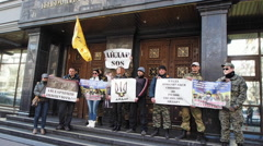 "Volunteers Battalion ""Aydar"" came under the walls of the General Prosecutor's Stock Footage"