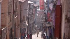 Narrow street,Tansen,Nepal Stock Footage