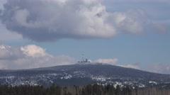 4k Harz mountain Brocken clouds time-lapse winter Stock Footage