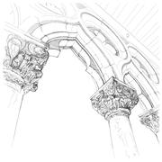 Capitals of the column of the Doge's Palace. Venice - Piazza San Marco - stock illustration