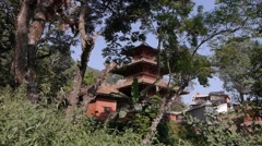 A Temple between trees,Tansen,Nepal Stock Footage