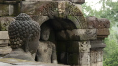 Buddha statues from the Borobudur a 9th-century Mahayana Buddhist Temple Stock Footage