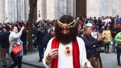 NEW YORK - APRIL 5:  A man dressed as Jesus in front of St. Patrick's Cathedral  - stock footage