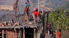Construction of a house by hand,Tansen,Nepal Stock Footage