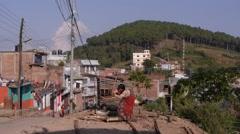 Lady chops wood,Tansen,Nepal Stock Footage