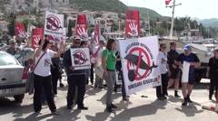 Walking demonstration against dolphins captivity Stock Footage
