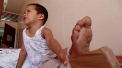Knee sprain bandaged Stock Footage