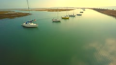 Yachts at the sea side Stock Footage