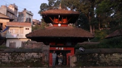 Devotees walking to and from the temple,Tansen,Nepal Stock Footage