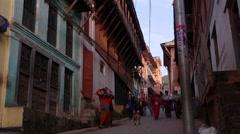 A busy steep pedestrian street,Tansen,Nepal Stock Footage
