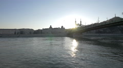 Floating under the Freedom Bridge in Budapest Stock Footage