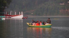 Tourist on a boat in Pewa Lake,Pokhara,Nepal Stock Footage