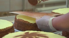 Decorating cake using grated chocolate over the stencil.mp4 Stock Footage