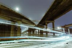 Transport metropolis, traffic and blurry lights Stock Photos