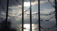 Crimea Russia Fiolent - Black sea, static camera, nouns, wire, sky, clouds Stock Footage