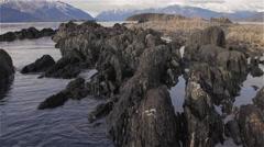 Alaska Chilkat Sea Rocks and Ripple Stock Footage