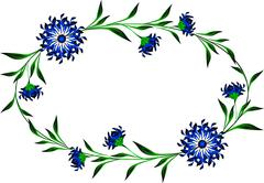 Frame with cornflowers in the shape of a circle Stock Illustration