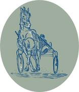 Horse and Jockey Harness Racing Etching Stock Illustration