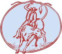 Rodeo Cowboy Bull Riding Circle Etching - stock illustration