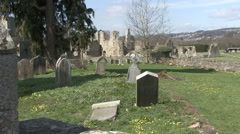 Ruined abbey at Easby behind a graveyard. Stock Footage