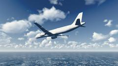 Airliner flies over ocean Stock Illustration