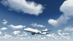 Airliner flies through the cloudy sky Stock Illustration