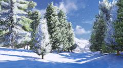 Snowy pine wood in the mountains - stock illustration