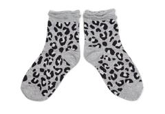 Pair of gray socks with black pattern. Stock Photos