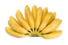 natural small tropical banana in a bunch - stock photo
