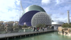 View from inside L'Oceanogràfic towards the aviary & Agora, Valencia, Spain. - stock footage