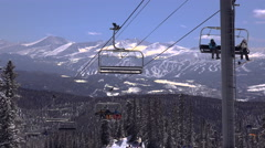 Ski Chairlift with Slopes in Background Stock Footage