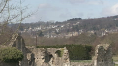 Ruined abbey at Easby with Richmond in distance. Stock Footage