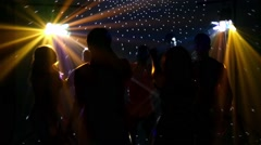 pair dancers dancing in spotlight at the club, silhouette, sexy dancing, Slow - stock footage