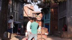 Street seller in village,Pharping,Nepal Stock Footage