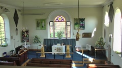 Church interior rural parish country church religious architecture Stock Footage